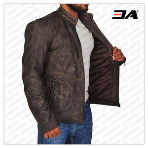 MEN THE ROCK DISTRESSED BROWN LEATHER JACKET - 3A MOTO LEATHER