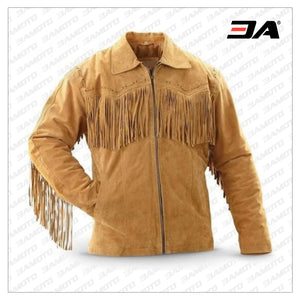 MEN HANDMADE COWBOY WESTERN STYLE LEATHER JACKET