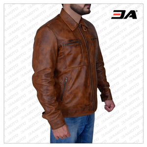 MEN'S DISTRESSED BROWN LEATHER JACKET - 3A MOTO LEATHER