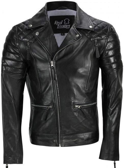 Men/'s Stylish Black Bomber Style Leather Jacket Fully Lined Small To 5 X