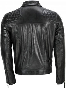 Men's Black Sheep Leather Vintage Style Biker Fashion Casual Leather Jacket - 3amoto