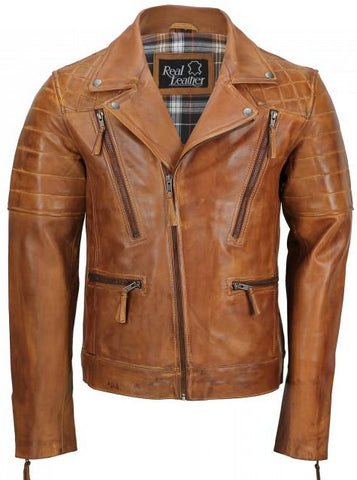 Men's Tan Sheep Leather Vintage Style Biker Fashion Casual Leather Jacket - 3amoto