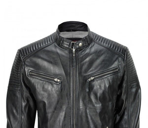 Men's Black Vintage Biker Style Waxed Sheep Skin Fashion Jacket - 3amoto
