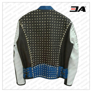 Made To Order Full Studded Biker Leather Coat Jacket Multi Color Design - 3A MOTO LEATHER
