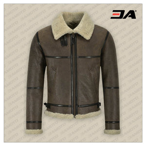 MEN B3 BROWN AIR FORCE SHEARLING JACKET - 3A MOTO LEATHER