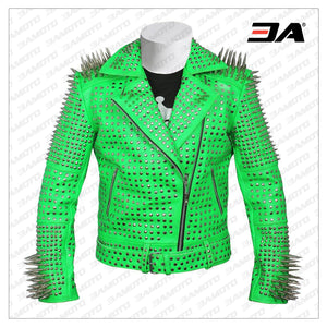 Men Green Studded leather jacket, Green Punk Studded Jacket, Leather jacket men, punk jacket, studded jacket, spiked leather jacket - 3A MOTO LEATHER