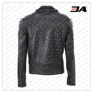 Men Make to Order Rock Punk Studded Jacket Moto Biker Jacket - 3A MOTO LEATHER