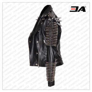 Men Silver Studded Long Spiked Jacket Leather Black Rock Punk Style Jacket - 3A MOTO LEATHER