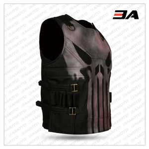 Men's Black Punisher Skull Faux Leather Vest