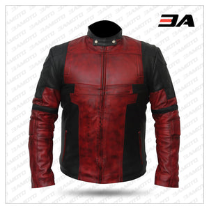Men's Deadpool Leather Motorcycle Jacket For Bikers