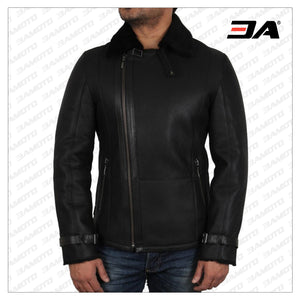 Men's Luxury Double Aviator Black Real Shearling Sheepskin Leather Flying Jacket