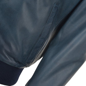 Navy Waxed Bomber Leather Jacket - 3amoto