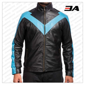 Men's Nightwing Leather Jacket From Dick Grayson Costume
