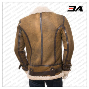 Men's Tan Sheepskin B3 Bomber Flight Aviator Jacket