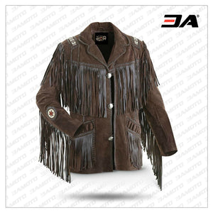 Men's Traditional Western Cowboy Leather Jacket coat with fringe bones and beads