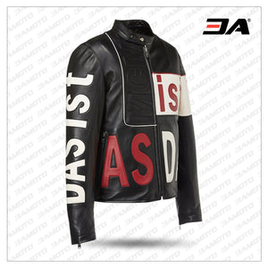 Mens Intarsia Leather Racer Jacket - 3amoto