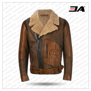 Mens Aviator Raf B3 Leather Bomber Flying Jacket