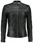 Men,s Black Washed Waxy Sheepskin Padded Shoulder Fashion Leather Jacket - 3amoto