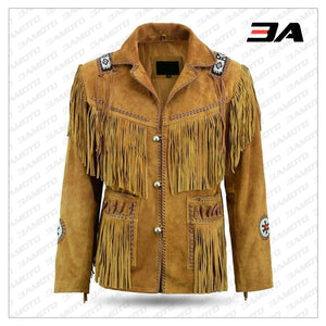 Mens Brown Classic Western Suede Leather Jacket With Beads Fringes Indians