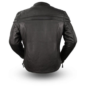 Mens Classic Leather Motorcycle Riding Jacket