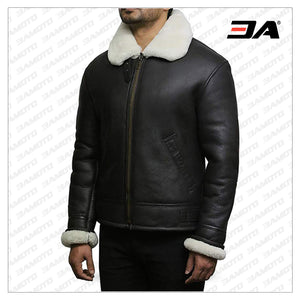 Men's Cream Wool Aviator B3 Shearling Real Sheepskin Leather Bomber Flying Pilot Jacket