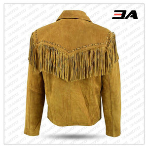 Mens New Native American Western Brown Suede Leather Jacket Fringe Tassels