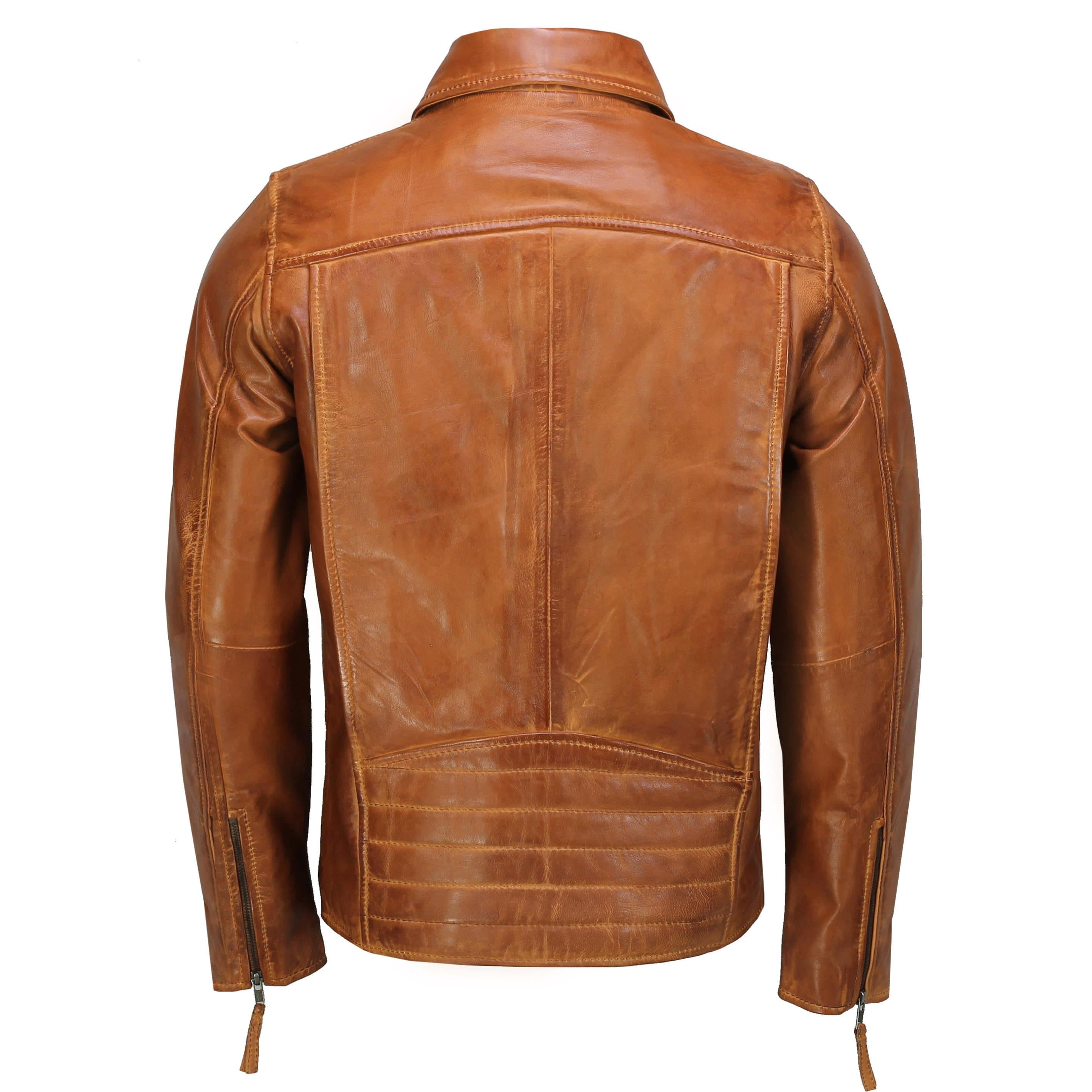 Mens Brown Vintage Real Leather Zipped Tailored Fit Bomber Jacket Smart Casual