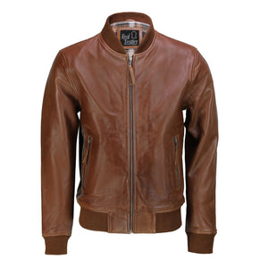Mens Tan Soft Real Leather Smart Casual Vintage Bomber Biker Style Jacket