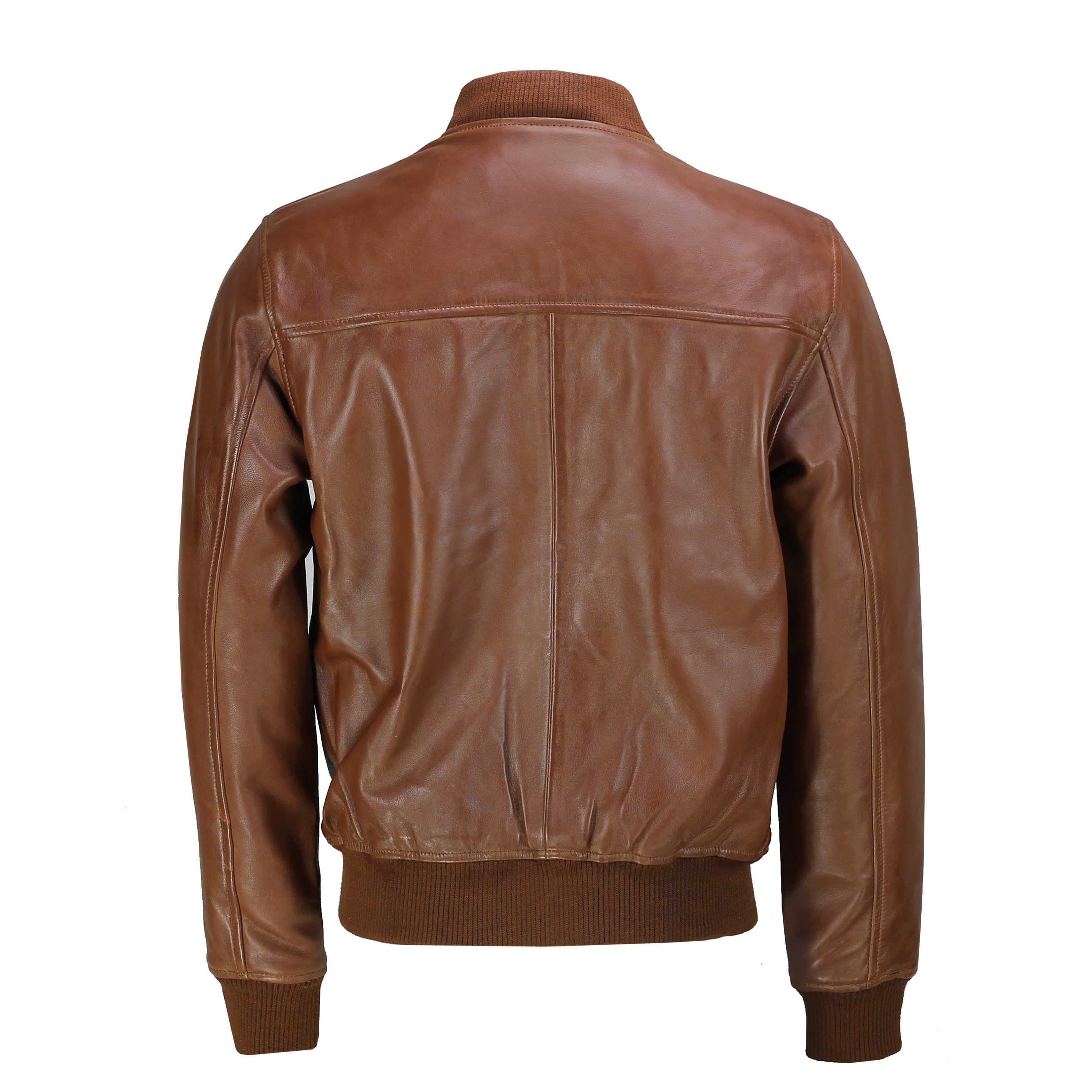 Mens Motorcycle Vintage Washed Tan Brown Real Leather Bomber Pilot Jacket