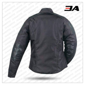 MENS TEXTILE MOTORCYCLE JACKET WITH LEATHER TRIM BACK