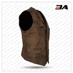Mens Vintage Brown Distressed Leather Vest