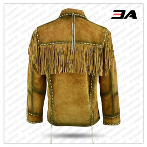 Mens Western Cowboy Brown Suede Leather Jacket With Fringe