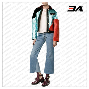Metallic Shearling Fur Leather Color Block Jacket