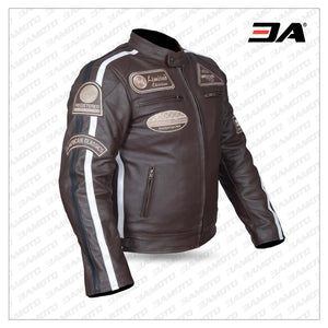 Motorcycle Leather Jacket Brown in Antique Retro style Biker Jacket Motorcycle Jacket Chopper
