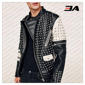 New Handmade Men's Black and white Fashion Studded Punk Style Stylish Jacket - 3A MOTO LEATHER