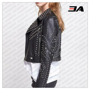 New Handmade Women's Black Fashion Studded Punk Style Leather Jacket - 3A MOTO LEATHER