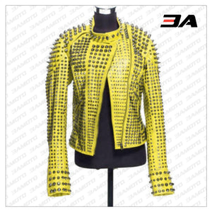 New Handmade Women's Yellow Fashion Studded Punk Style Leather Jacket - 3A MOTO LEATHER