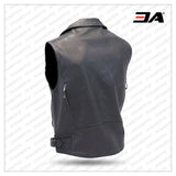 Premium Vented Sleeveless Leather Motorcycle Vest