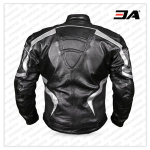 Python Motorcycle Leather Jacket Black/Silver