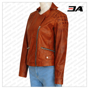 RETRO BROWN WOMEN JACKET - 3A MOTO LEATHER