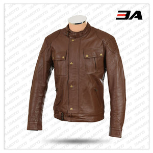 ROADMASTER PURE BROWN LEATHER BIKER JACKET