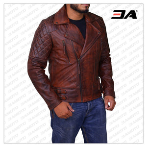 RUSTY BROWN VINTAGE LEATHER JACKET - 3A MOTO LEATHER
