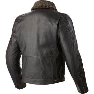 Black Shearling Leather Motorbike Jacket - 3amoto