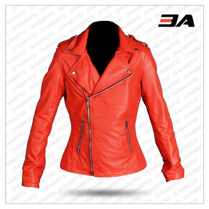 Riverdale Womens Cheryl Blossom Red Serpents Jacket Leather