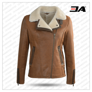 SIDE ZIP BIKER JANE SHEEPSKIN B-3 BOMBER JACKET
