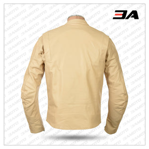 STEVE MCQUEEN CREAM LE-MAN ARMOURED BIKER JACKET