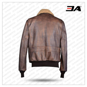 Classic leather bomber jacket with plush collar