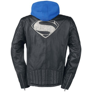 Superman Genuine Real Leather Jacket with Hoodie - 3amoto
