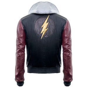 The Flash Genuine Real Leather Jacket With Hoodie - 3amoto