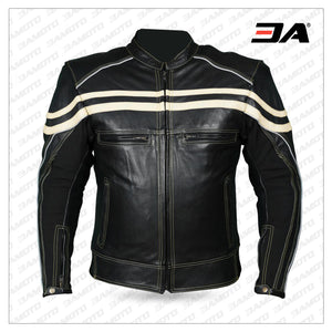 Track Motorcycle Leather Jacket Black/Beige